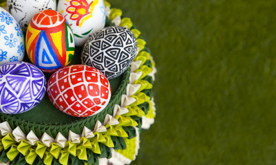 basket with colorful eggs