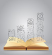 drawing business strategy plan concept on book