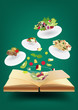 Creative recipe book concept idea, vector