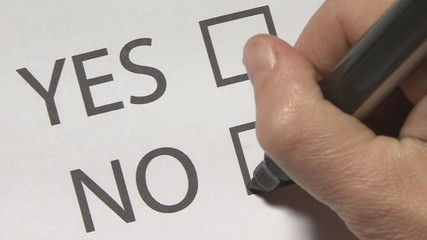 """Questionnaire, """"yes"""" or """"no"""" a question"""
