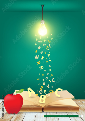 Open book with creative light bulb and falling letters