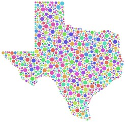 Decorative map of Texas - USA - in a mosaic of harlequin bubbles