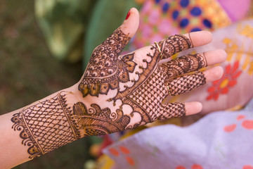 fresh henna on hand, wedding, bride ,Rajasthan, India