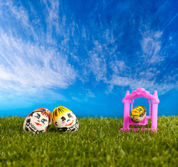 happy egg family outdoors