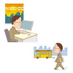 比較_定時退社と残業