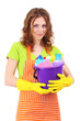 Young housewife with bucket of cleaning supplies, isolated