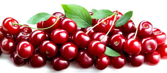 cherries with leaves isolated. fruit background
