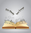 Ecology friendly creative concept drawing on book