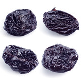 Dried plums isolated on white. prunes collection