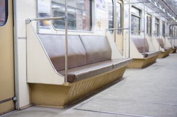 Interior of empty Moscow subway car