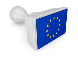 Wooden stamp with european flag.
