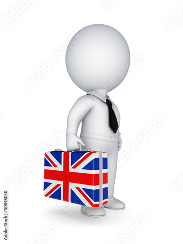 Suitcase with flag of England.