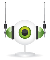 Eye green camera and headphones illustration