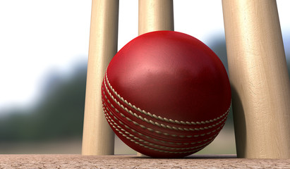 Cricket Ball At Base Of Wickets