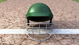 Cricket Helmet On Cracket Pitch Front