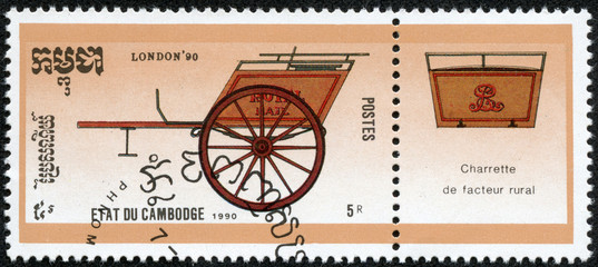 stamp dedicated STAMPWORLD LONDON-90, shows mail coach