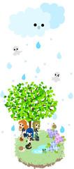 しとしとと雨が降っている。カエルやカタツムリと一緒に木の下で雨宿りをしよう。