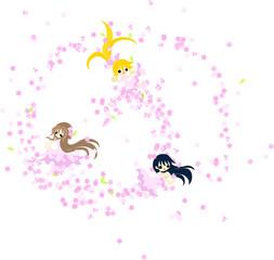 桜の花と共に、華麗に舞う3人の少女。
