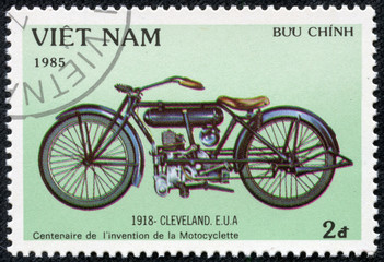 stamp printed in Vietnam shows vintage motorcycle