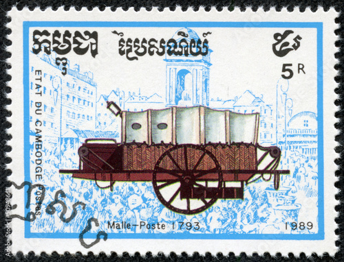 stamp printed in Cambodia shows Horse-drawn