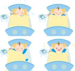 ベッドで眠る赤ちゃん お昼寝 男の子