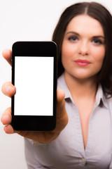 Profesional female presenting iPhone