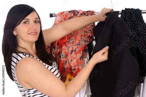 Young woman in the store while shopping