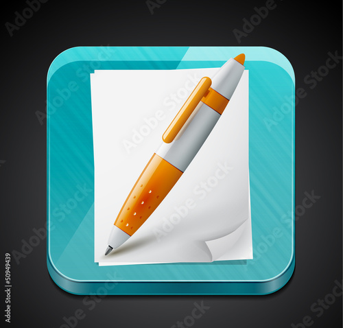 Mobile app icon - pen, pages and glass surface