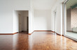 interior house empty, white walls parquet floor