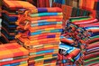 Colorful woven fabric at a Mexican craft market