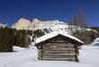 Rosengarten and wooden hut, Costalunga pass