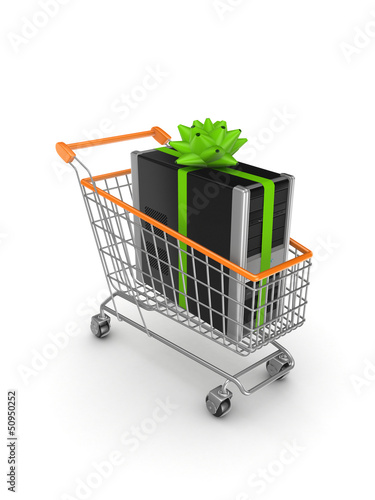 PC in a shopping trolley.