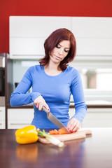 attractive female preparing food