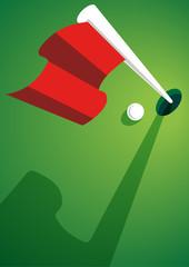 Golfball mit Golffahne