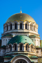 Close up of St. Alexander Nevski Orthodox Cathedral in Sofia,