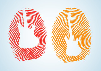 thumbprint with guitar icon.depicting a Music-Lover, musician