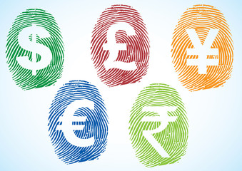 Currency symbols on thumbprint (dollar, euro, pound, yen, rupee)
