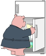 Pig looking in a refrigerator