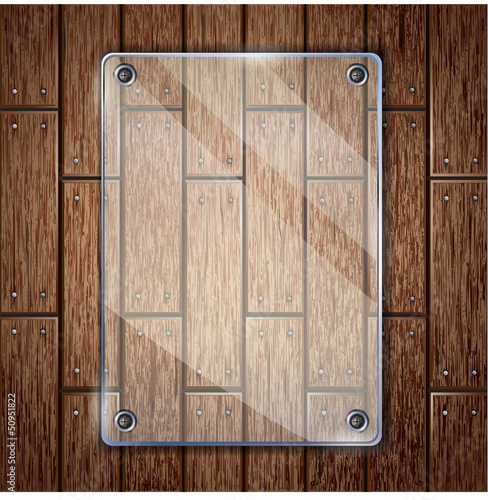 Glass frame on wooden texture background