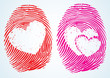 Love / Lovers? thumbprint with the heart Symbol.