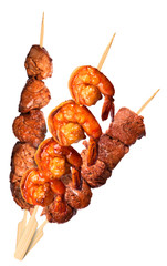 fresh grilled meat dishes set isolated