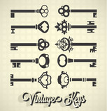 Vector Set: Vintage Key Silhouettes