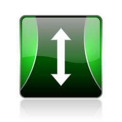 arrows black and green square web glossy icon