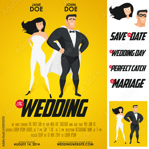 Funny super hero movie poster wedding invitation