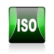 iso black and green square web glossy icon