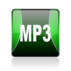 mp3 black and green square web glossy icon