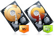 Hard disk drive HDD with price badge vector