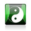 ying yang black and green square web glossy icon