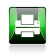 printer black and green square web glossy icon