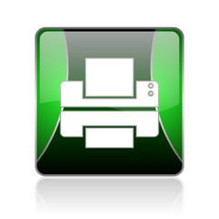 printer black and green square web glossy icon